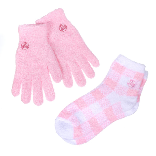 Soft Pink Aloe Gloves and Socks Combo Set
