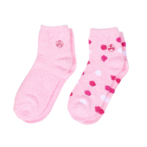 Aloe socks-Double Pack Socks socks-pink polka