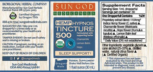 Sleep Support Hypnos Hemp Tincture 500mg CBD - Sun God USDA Certified Organic