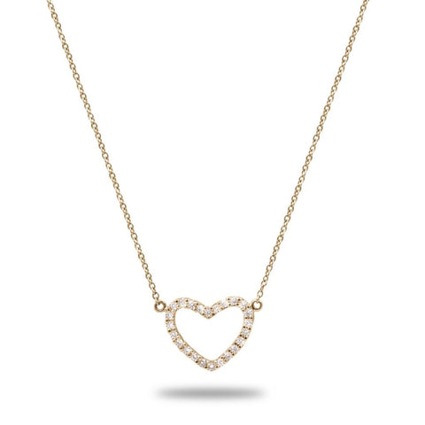 Oleander Diamond Heart Pendant in 14K Solid Gold