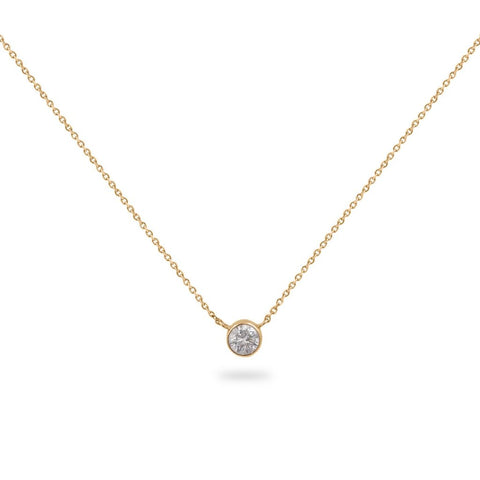 CALLA LILY  Diamond Pendant Choker Bezel Set In 14K Gold