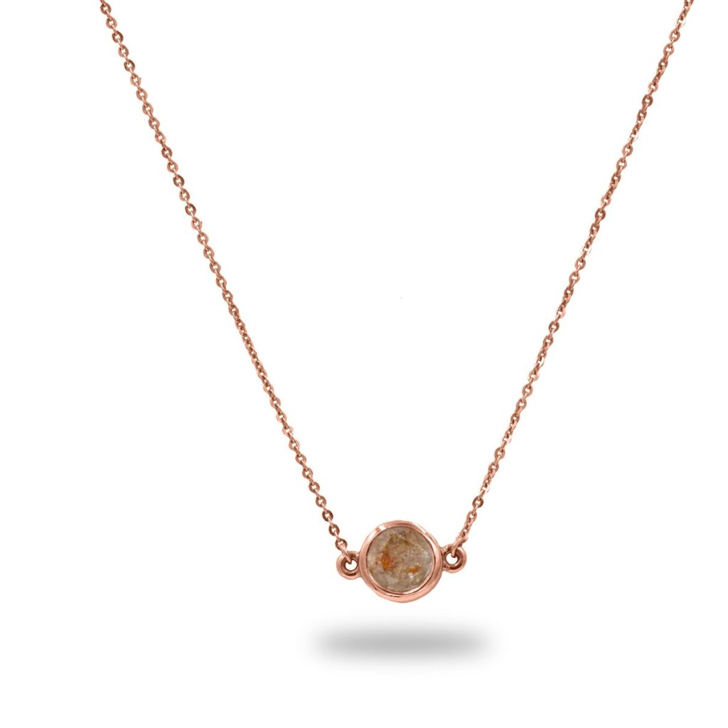 Clematis Peach Rustic Diamond Pendant 0.75TCW in 14K Solid Gold