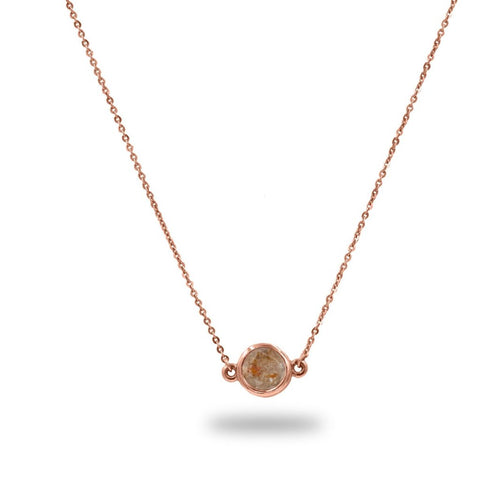 CLEMATIS Peach Rustic Diamond Pendant 0.75TCW in 14K Gold