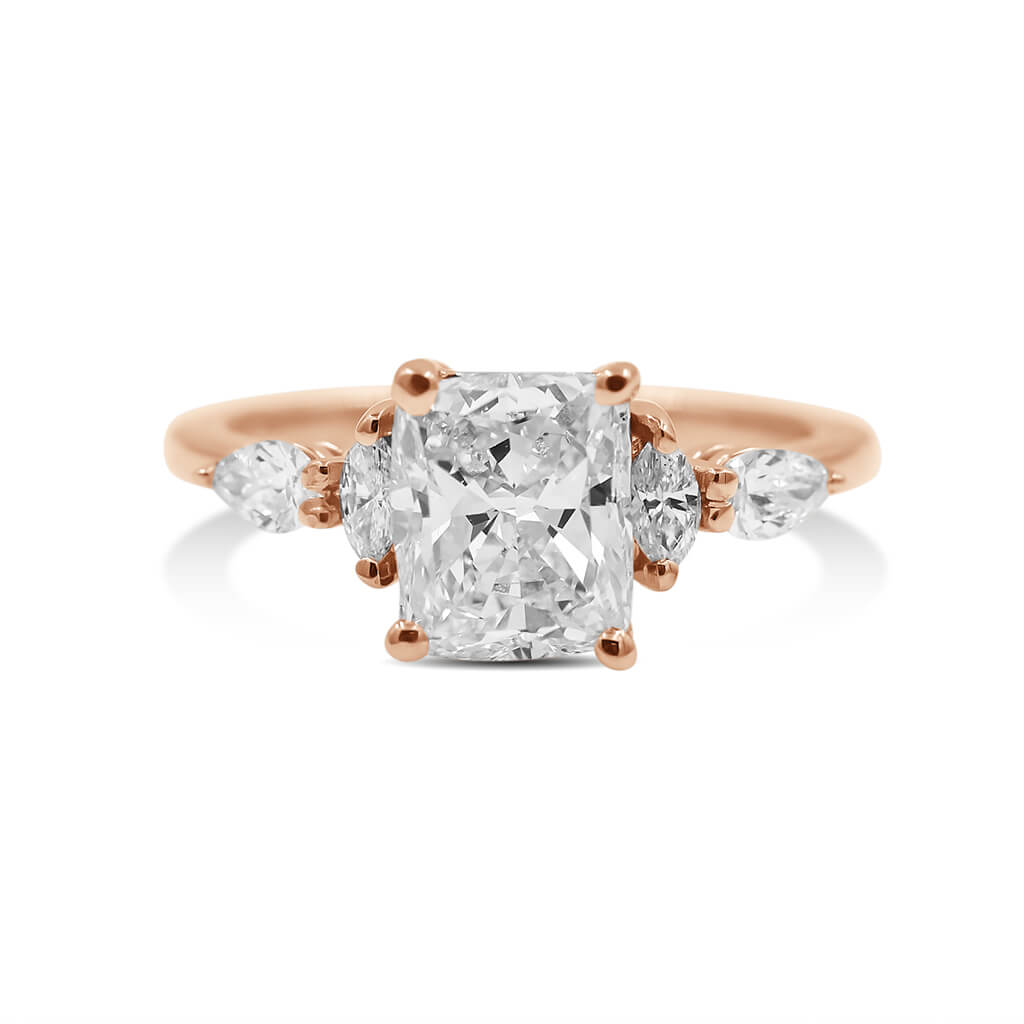 cushion diamond engagement ring in 14k rose gold
