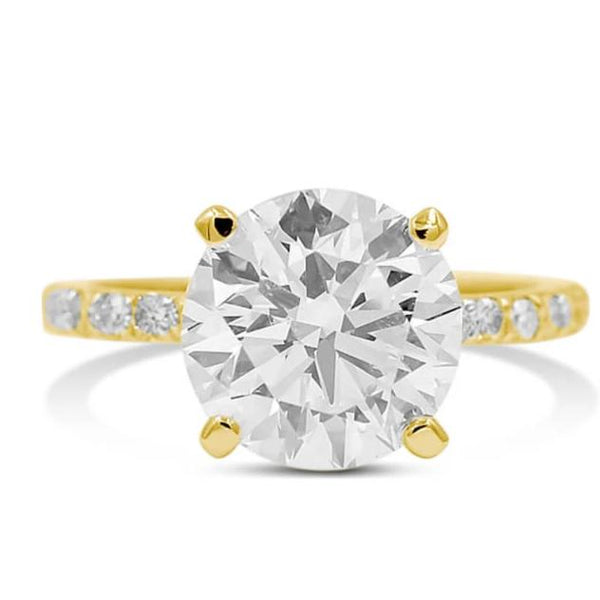 round diamond engagement ring in 14k yellow gold