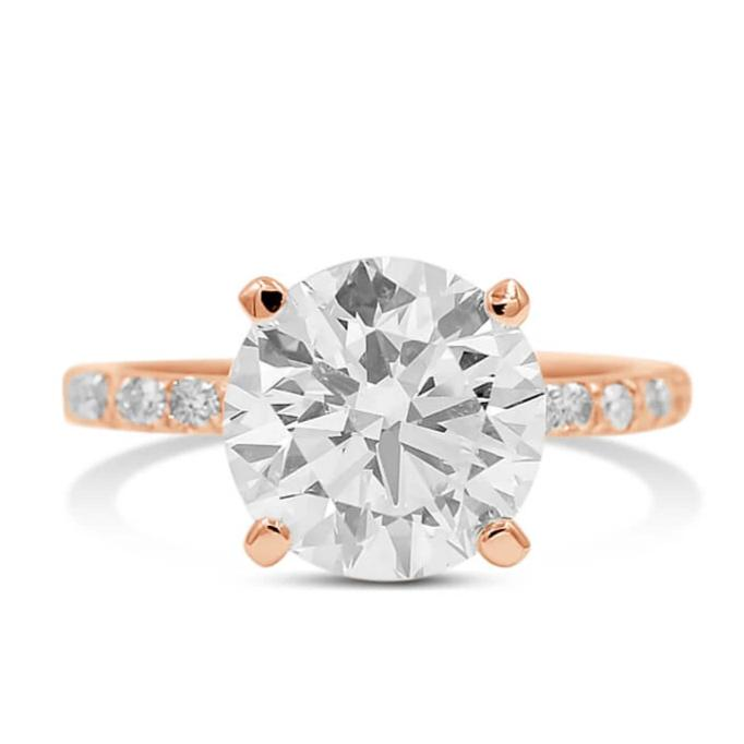 round diamond engagement ring in 14k rose gold