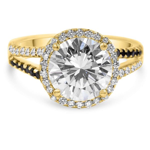 halo diamond ring in yellow gold
