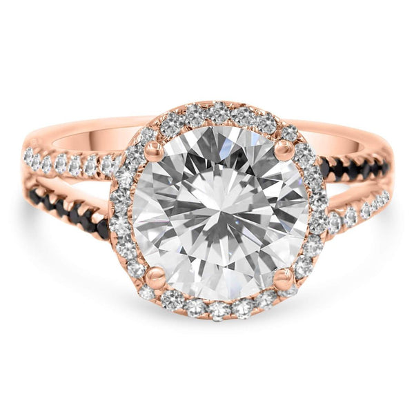 halo diamond ring in rose gold