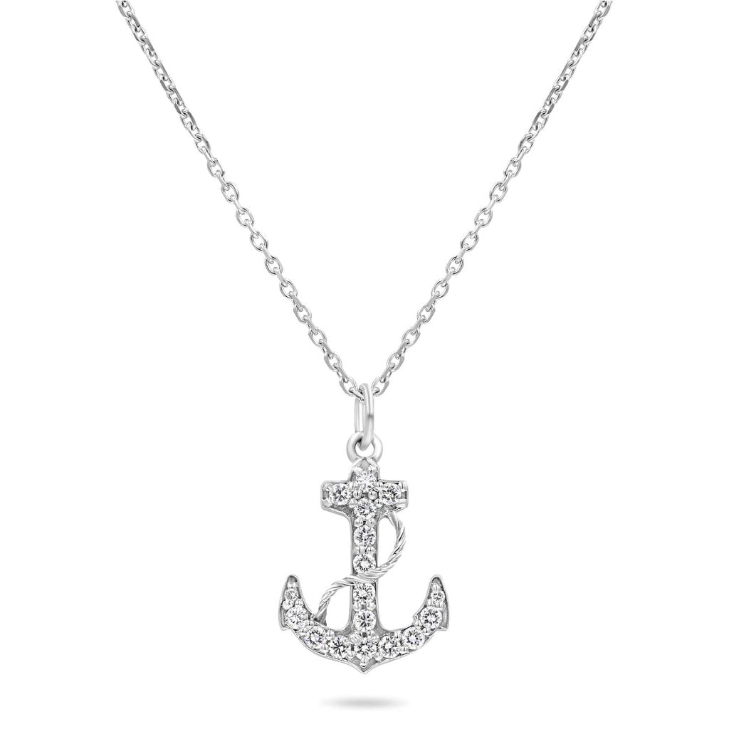 Navy Fouled Anchor Necklace With Diamonds In Solid Gold