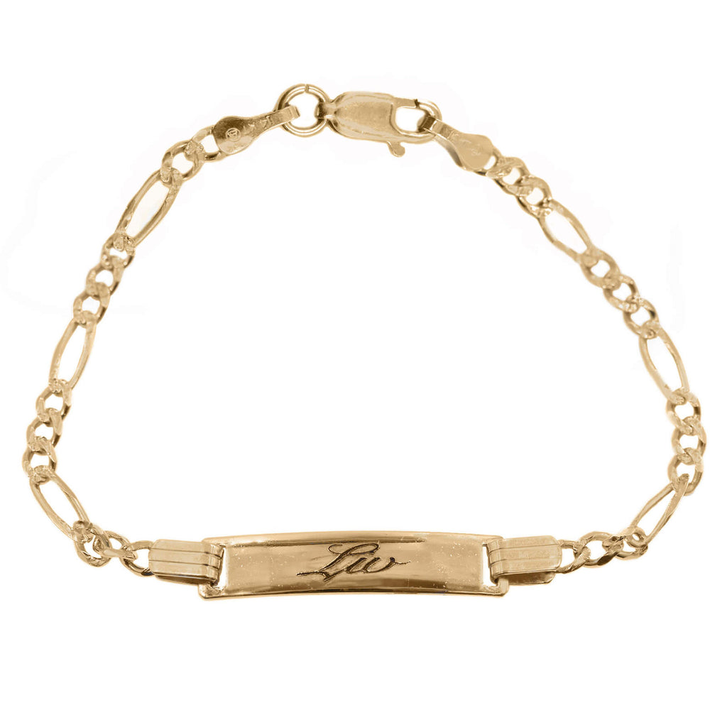 Baby ID Bracelet With Engraving in 14K Solid Gold