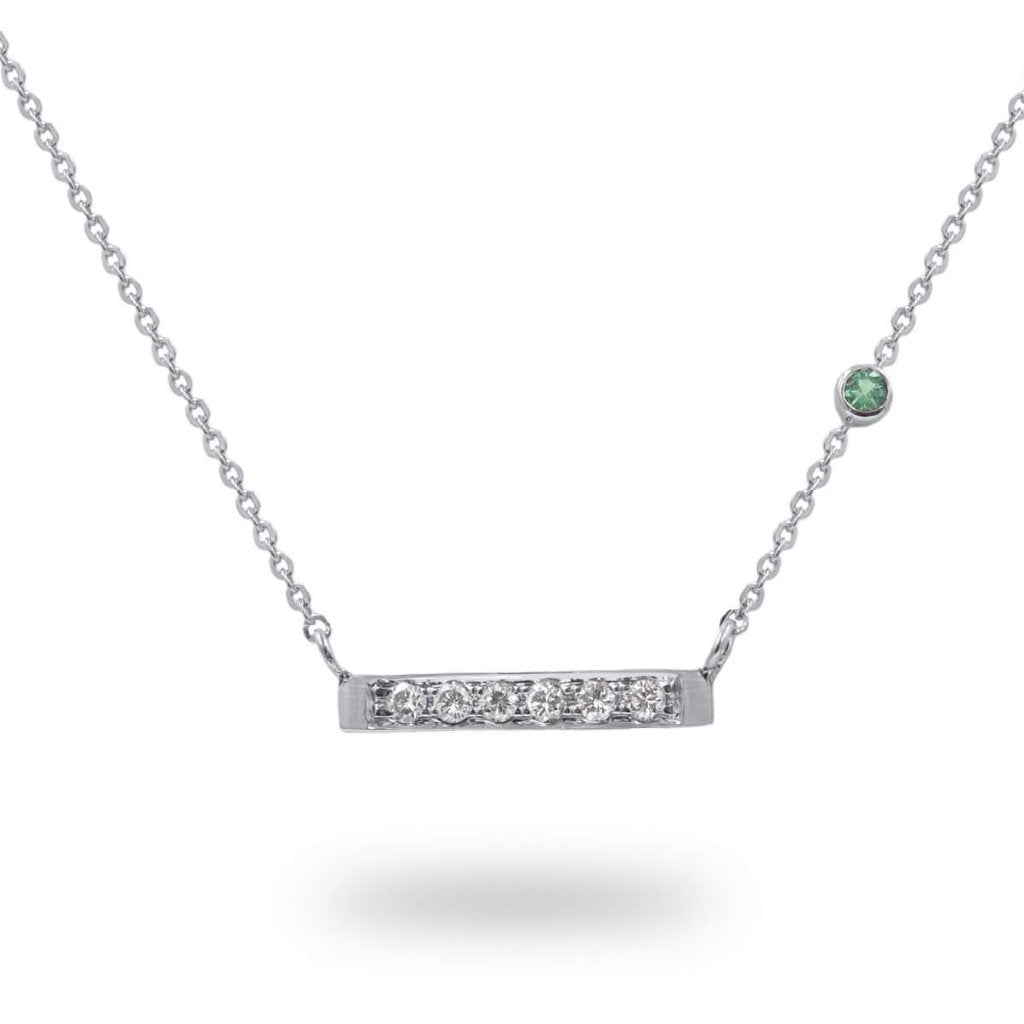 Diamond Bar & Birthstone Necklace in 14K Solid Gold