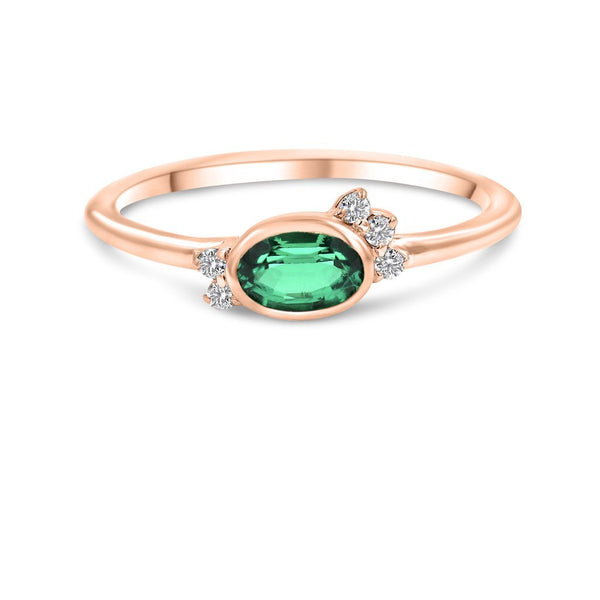 Bellflower Emerald Diamond Ring In 14K Solid Gold