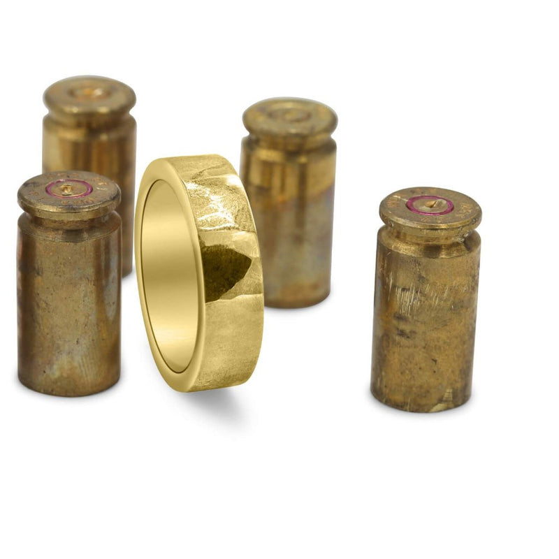 Bullet Casing Men's Wedding Band In Brass