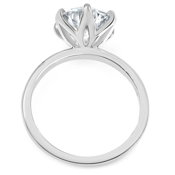 6 prong moissanite round engagement ring