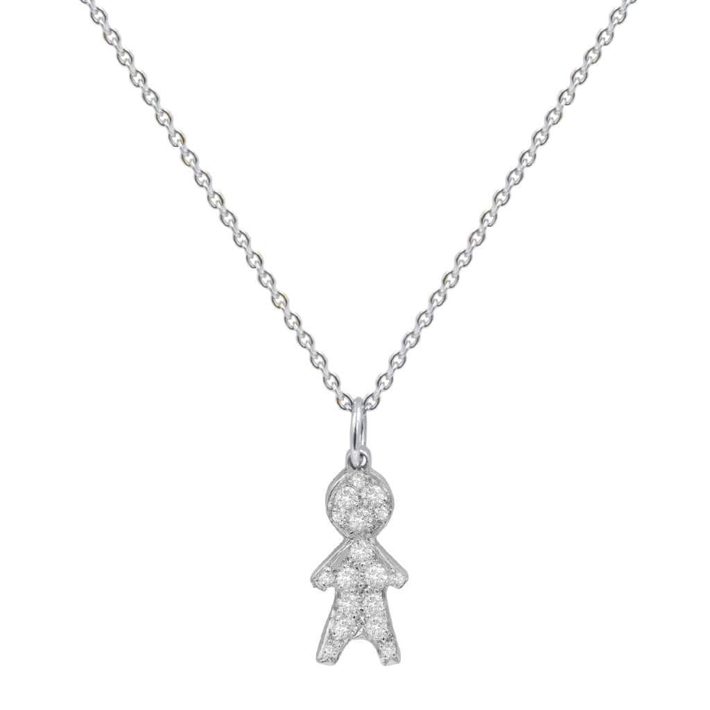 Child Charm Pendant Pave Diamonds 14K Solid Gold