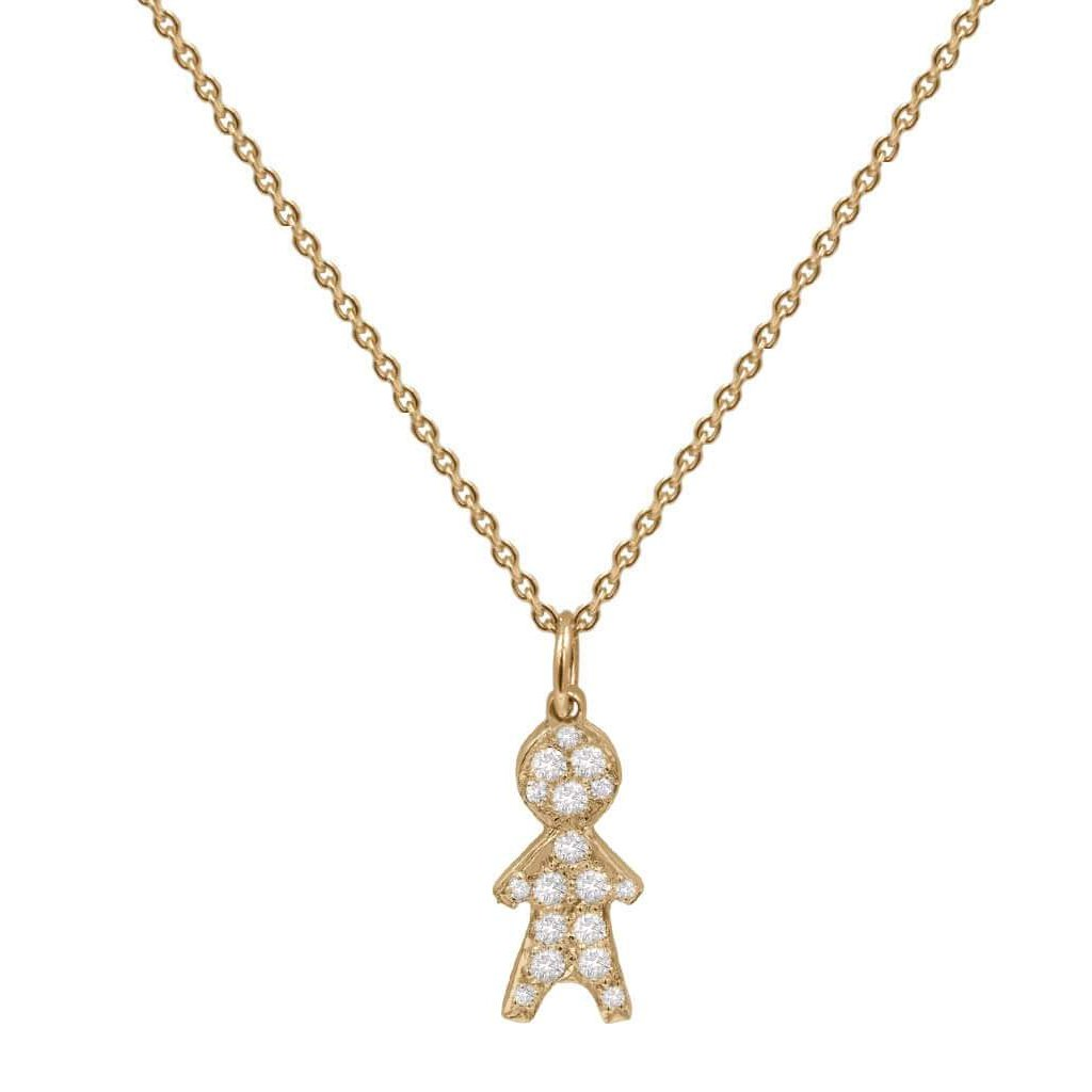 Child Charm Pendant Pave Diamonds in 14K Solid Gold