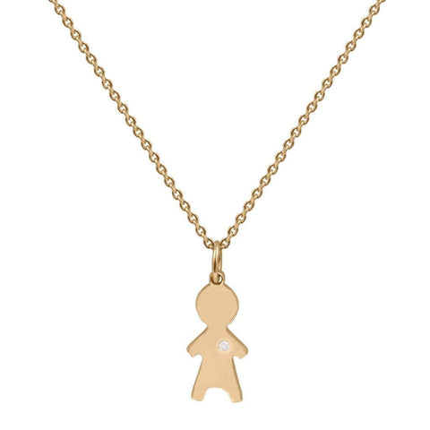 Child Charm Single Diamond Necklace in 14K Solid Gold