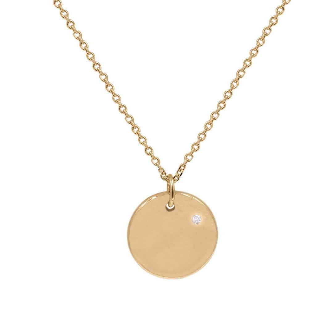 Circle Charm Single Diamond Engravable Pendant in 14K Solid Gold