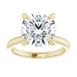 Round moissanite engagement ring 14k yellow gold