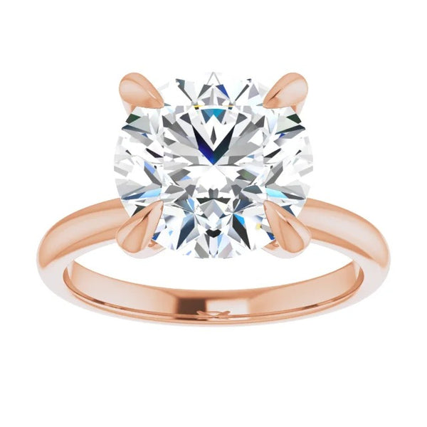 Round moissanite engagement ring 14k rose gold