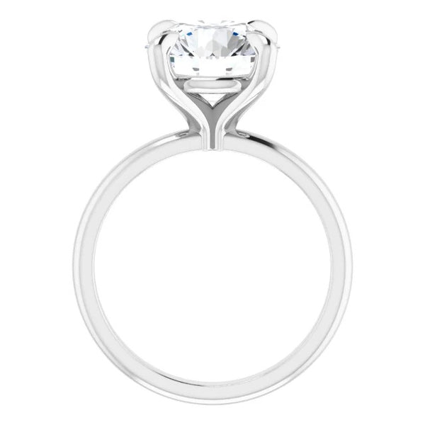 Round moissanite engagement ring side view