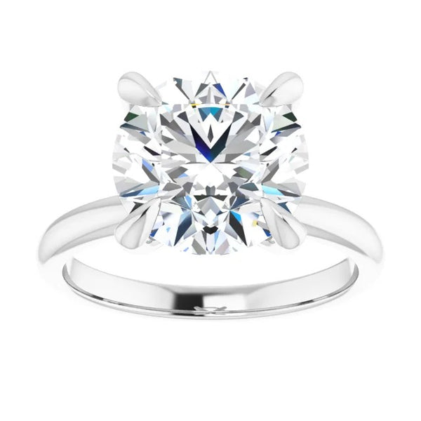 Round moissanite engagement ring 14k white gold