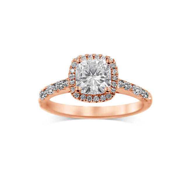 14k rose gold cushion moissanite engagement ring