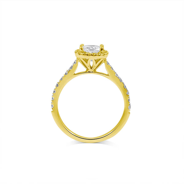 cushion moissanite engagement ring halo 14k yellow gold