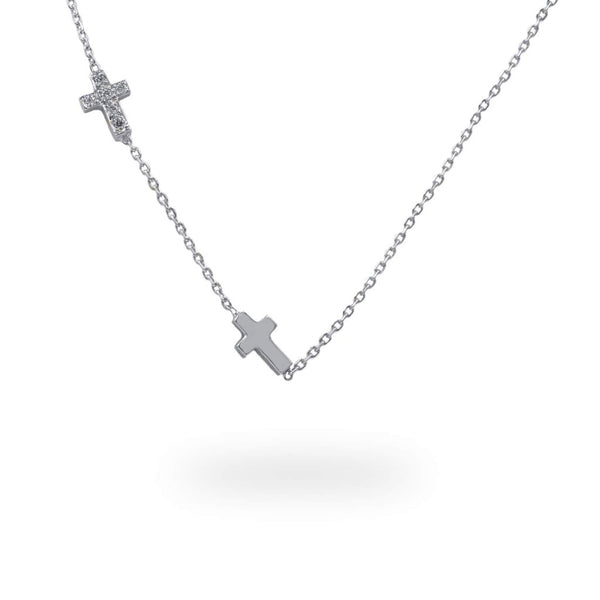 Diamond Cross necklace with diamonds or birthstones White Gold