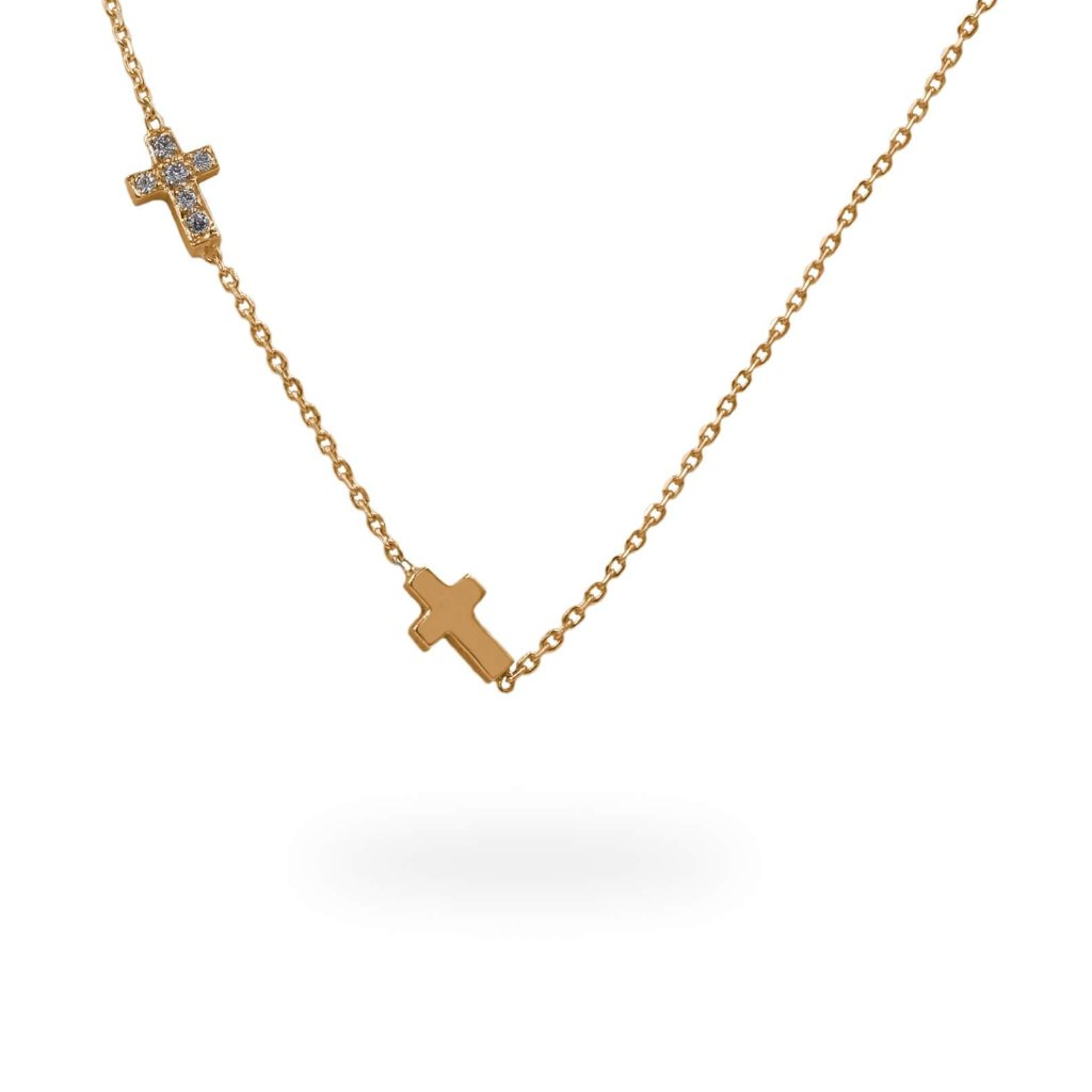 Little Cross Diamond Pendant Set In 14K Gold
