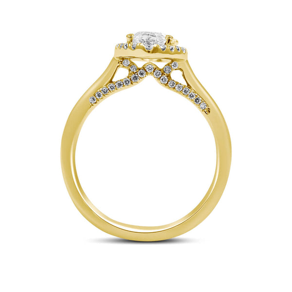 DIANNA | Pear Shape Halo Thick Solitaire Engagement Ring