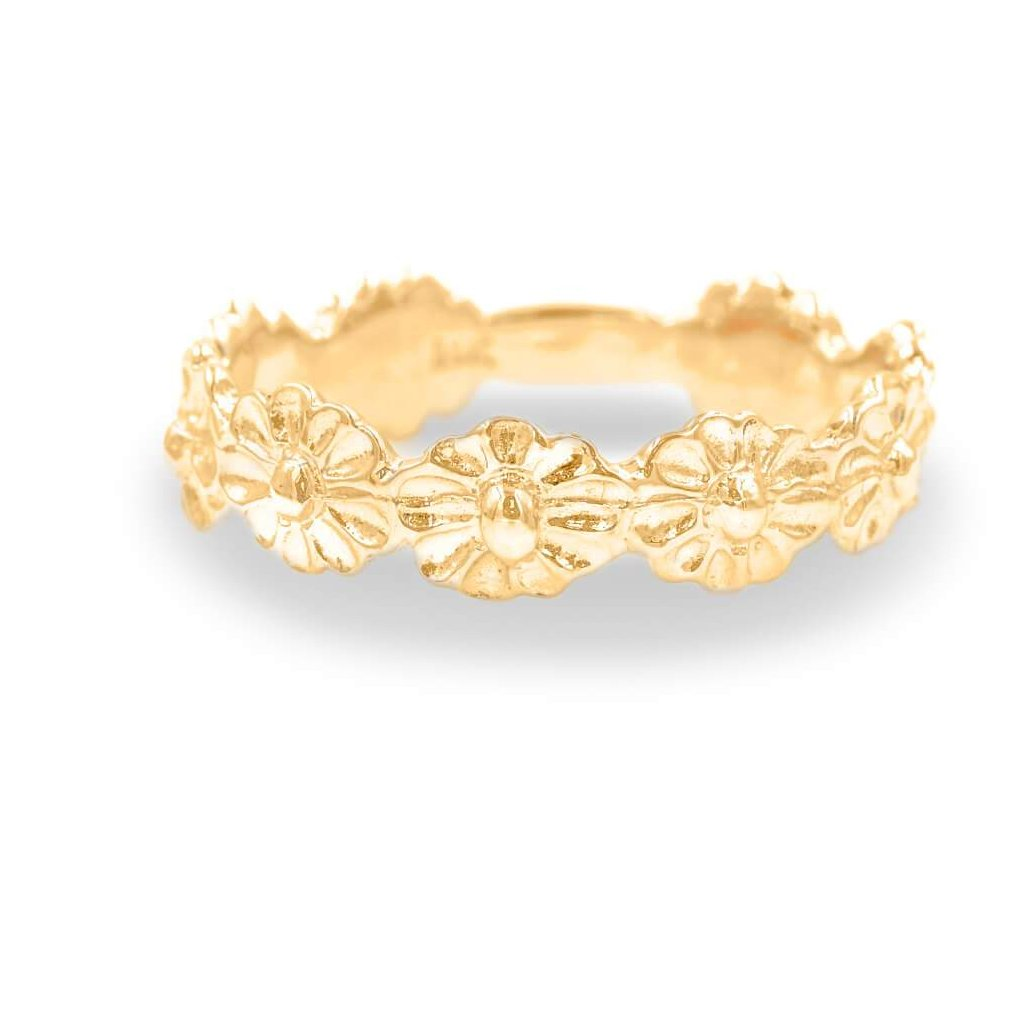 Flower Ring In 14K Solid Gold