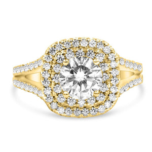 GABBY | Round & Cushion Double Halo Split Shank Engagement Ring