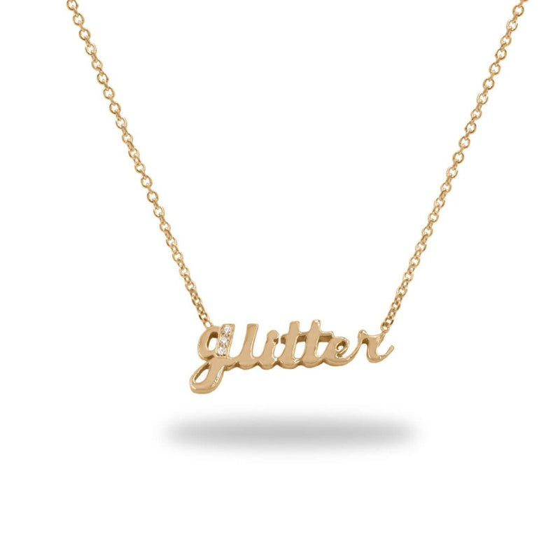 Glitter Diamond Hand Cut Name Necklace in 14K Solid Gold