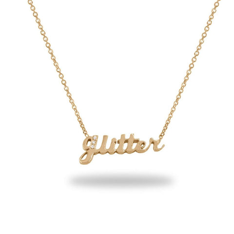 Glitter Diamond Custom Name Necklace In 14K Gold