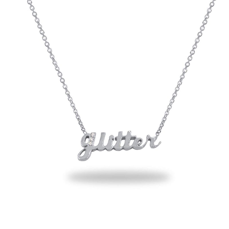 Custom Gold Diamond Name Necklace 14K White Gold