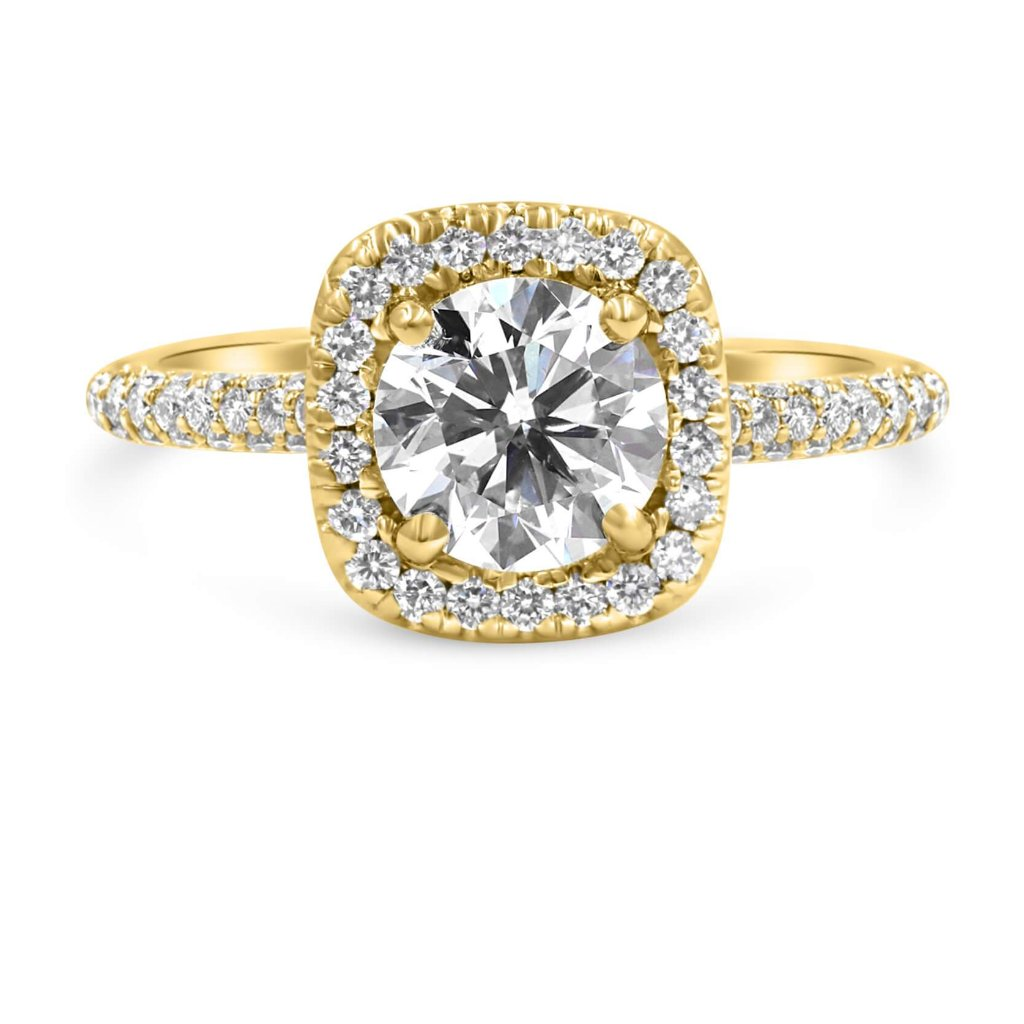 TARA | Round & Cushion Halo Engagement Ring