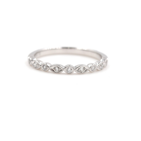 Diamond Anniversary Wedding Band Twisty Design 14K White gold