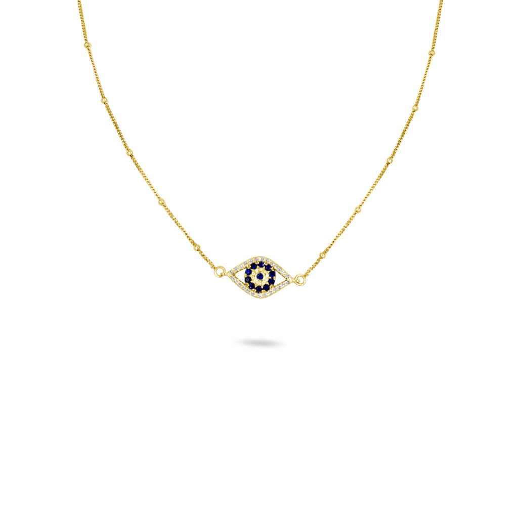 Evil Eye Diamond & Sapphire Necklace in 14K Solid Gold