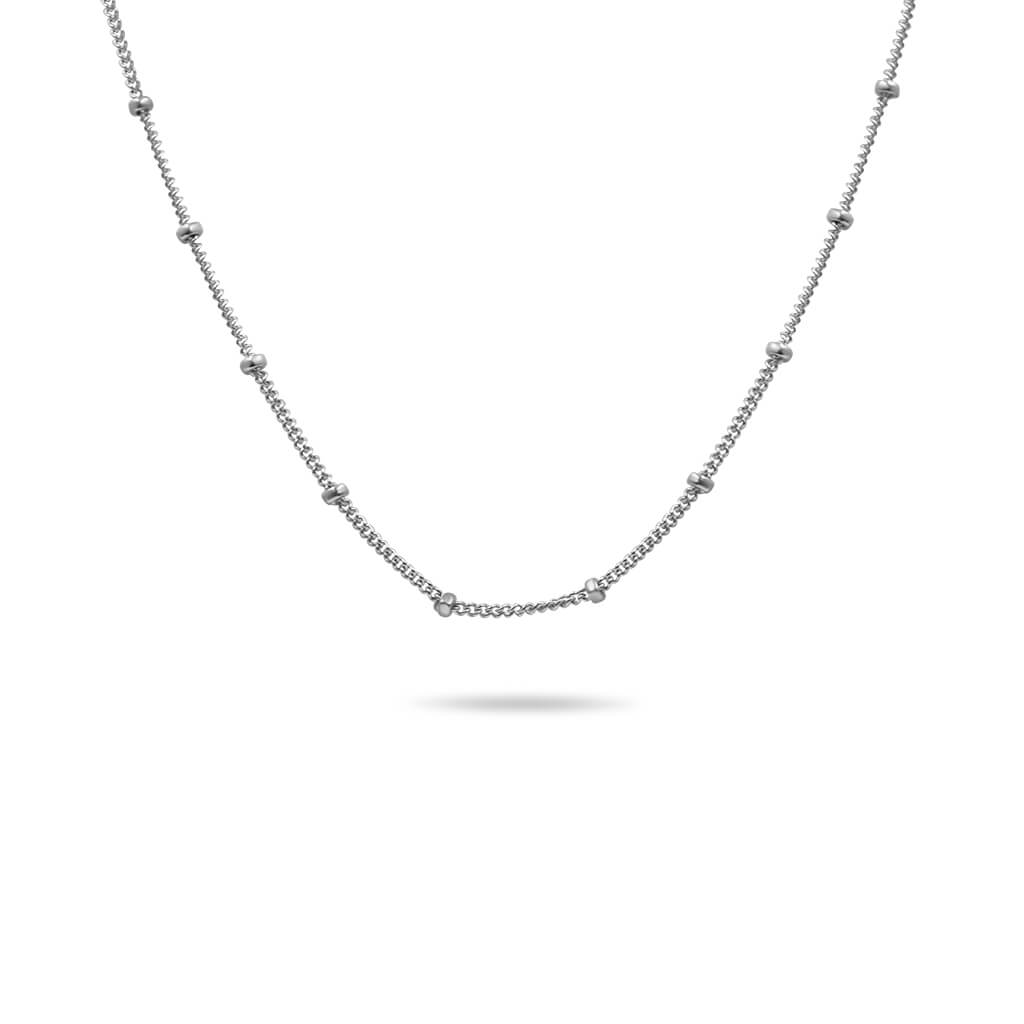 14K gold chain necklace in white gold
