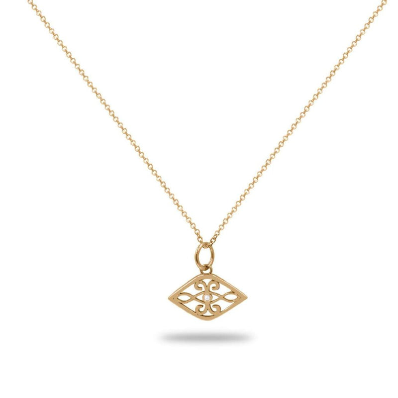 Evil Eye Diamond Necklace in 14K Gold