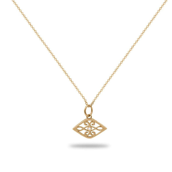 Evil Eye Diamond Necklace in 14K Solid Gold