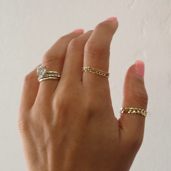 Figaro Chain Ring 14K Solid Gold