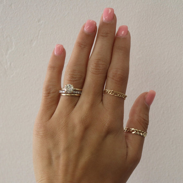 Bead Chain Ring 14K Solid Gold