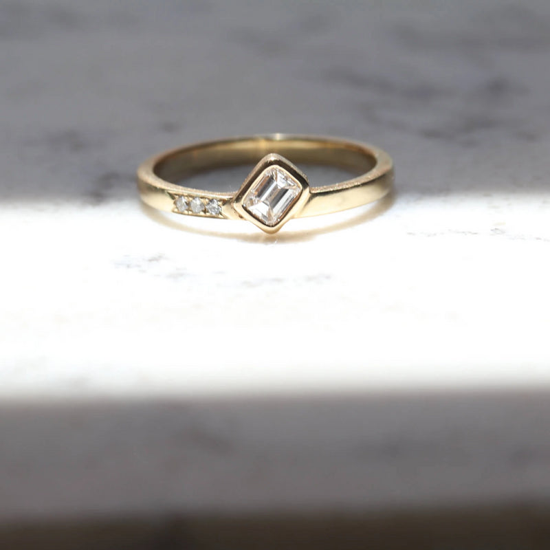 FIRE Emerald Cut Diamond Ring