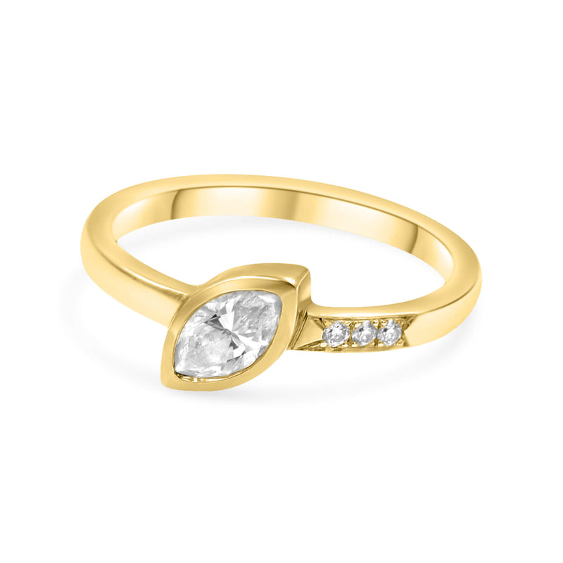 HARMONY Marquise Cut Diamond Ring - 14K Yellow Gold