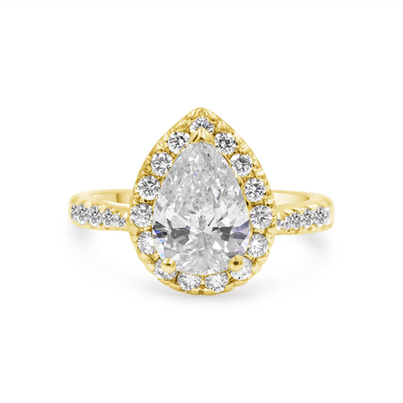 HARPER | Pear Shape Chubby Halo Engagement Ring