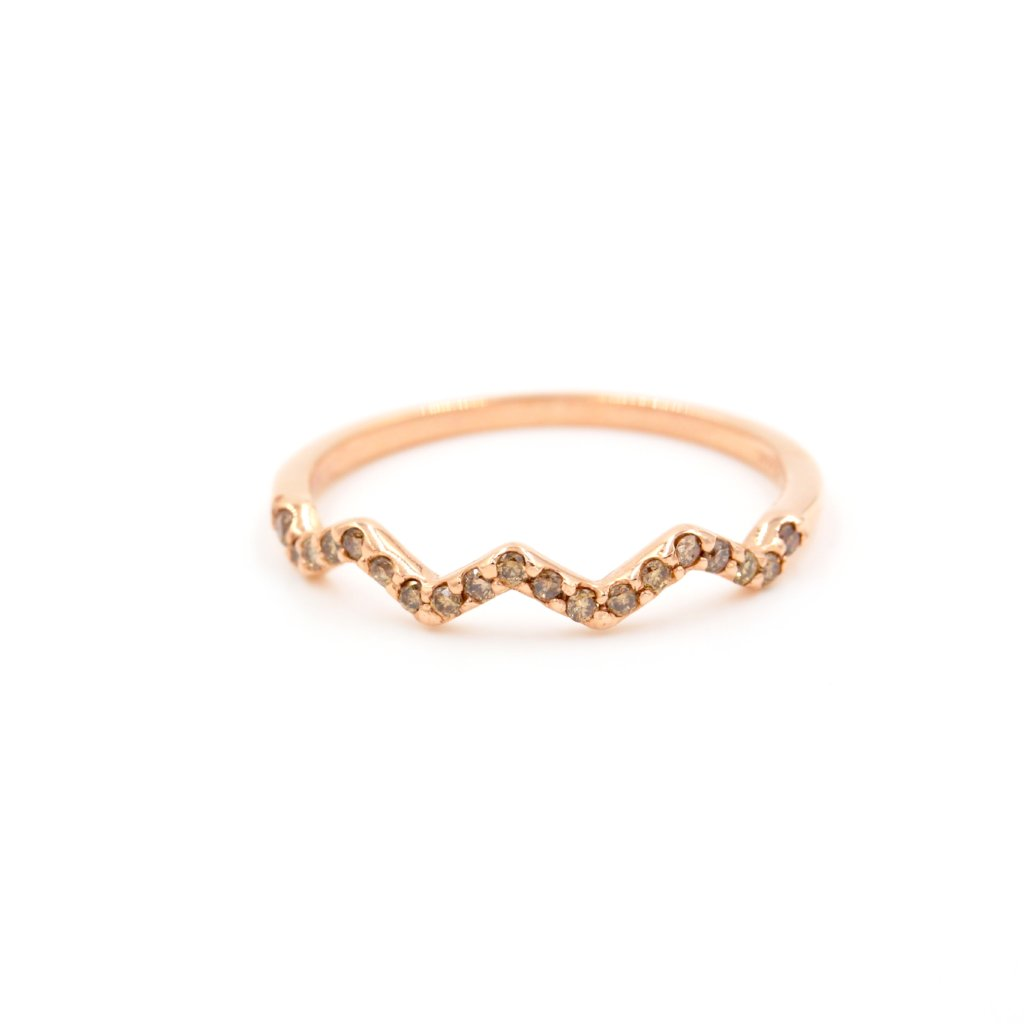 HAZEL Stackable Champagne Diamond Ring - 14K Rose Gold