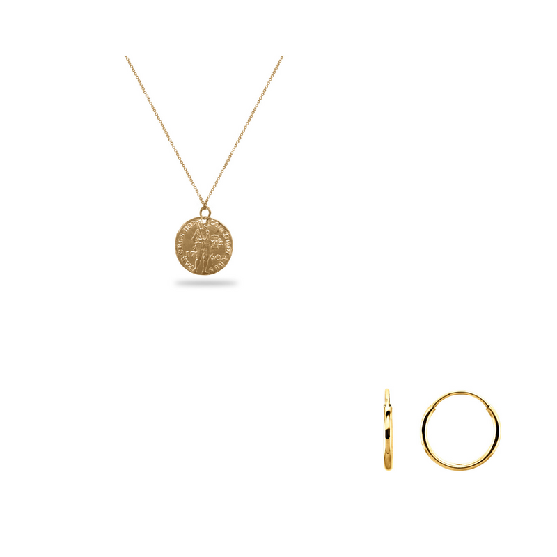 Large Gold Warrior Coin Necklace & Hoops Bundle