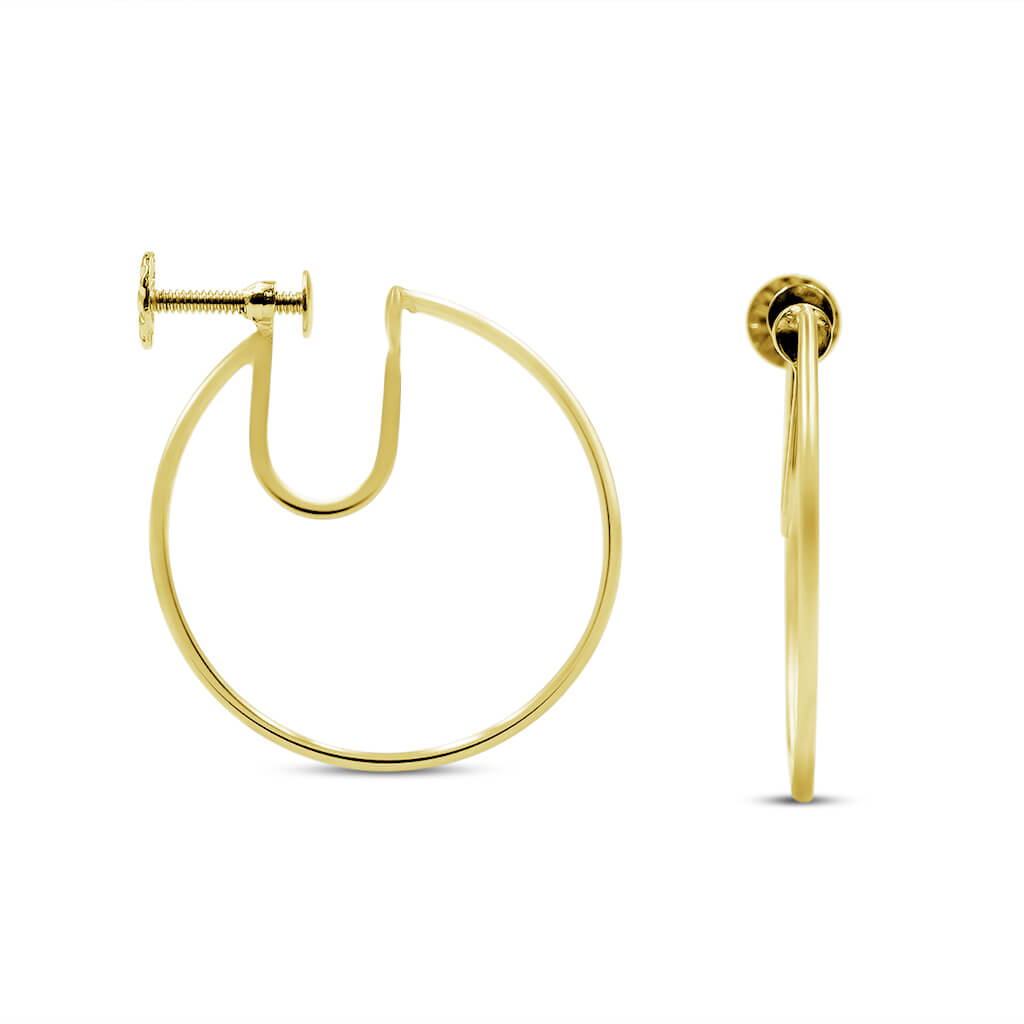 Screw On Gold Hoop Earrings 25MM